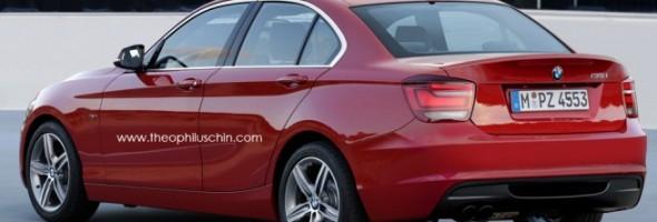 Rote BMW 1er Limousine mit 3-Zylinder Turbo und Frontantrieb Ansicht von hinten