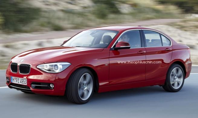 Frontansicht einer roten BMW 1er Limousine auf der Straße